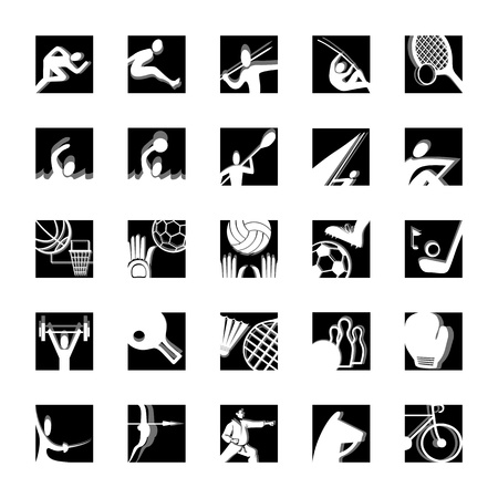 sport icon set illustrated vector pictograms black and white