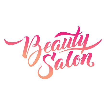 Ilustración de Logo Beauty Salon Lettering. Custom handmade calligraphy, vector - Imagen libre de derechos