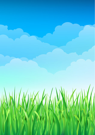 Illustration pour Green Grass and Blue Sky Background. Happy Summer Nature Illustration. Spring nature background with grass and blue sky in the back - image libre de droit