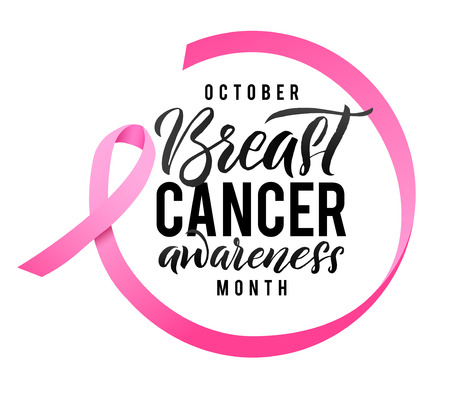 Illustration pour Breast Cancer Awareness Calligraphy Poster Design. Ribbon around letters. Vector Stroke Pink Ribbon. October is Cancer Awareness Month. - image libre de droit
