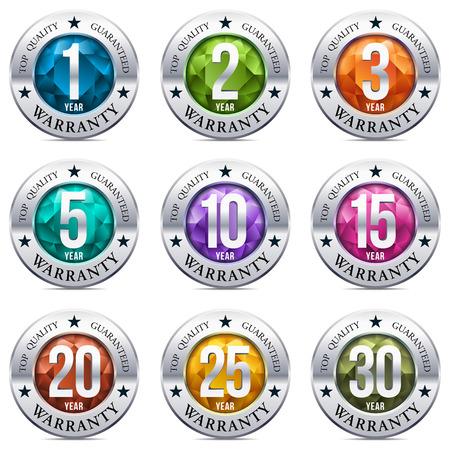 Illustration pour Warranty Seal Round Chrome Badge - image libre de droit