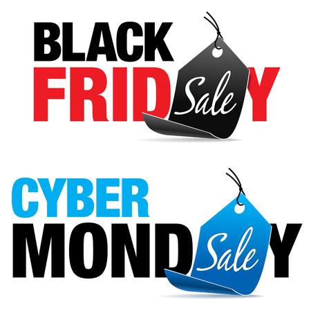 Ilustración de Black Friday and Cyber Monday Sale - Imagen libre de derechos
