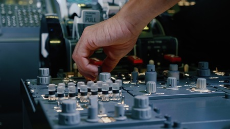 Photo for Panel of switches on an aircraft flight deck. Pilot controls the aircraft. - Royalty Free Image