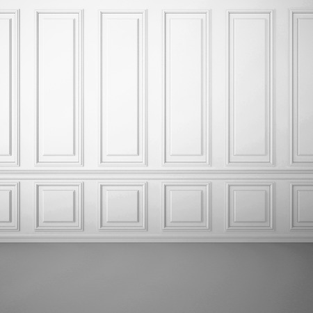 Foto de Classic white interior with decorative moldings on the wall - Imagen libre de derechos