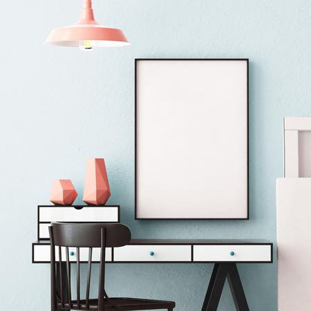 Foto de 3d illustration interior. Mockup in hipster style workspace. trend color. - Imagen libre de derechos