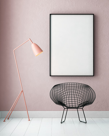 Photo pour mockup interior with a poster and a floor lamp. trend color. 3d - image libre de droit