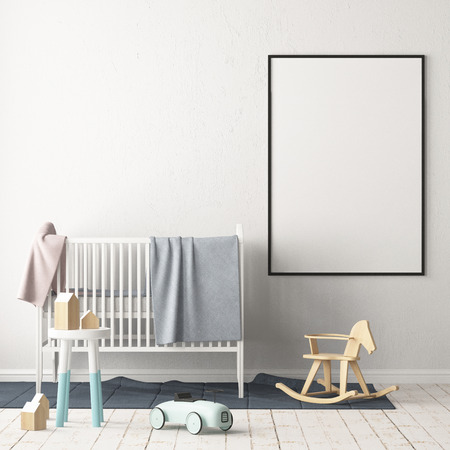 Photo for Mock up poster in the children's room. Children's room in Scandinavian style. 3d illustration. - Royalty Free Image