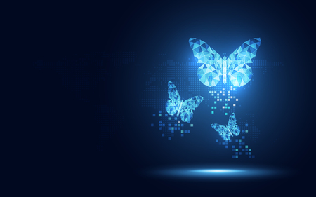 Illustration pour Futuristic blue lowpoly Butterfly abstract technology background. Artificial intelligence digital transformation and big data concept. Business quantum internet network communication evolution concept - image libre de droit