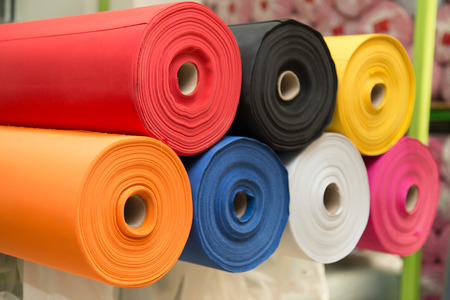 Photo for Colorful material fabric rolls - texture samples - Royalty Free Image