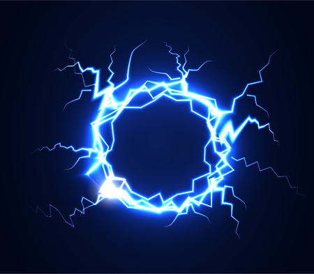 Lightning. Realistic effect of electrical discharge. Vector illustration