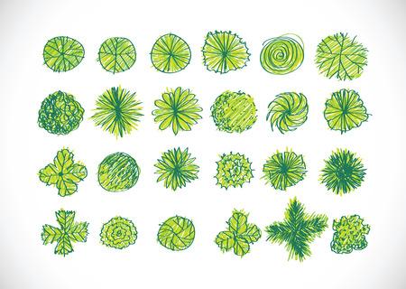 Illustration pour Trees top view for architecture landscape design projects - image libre de droit
