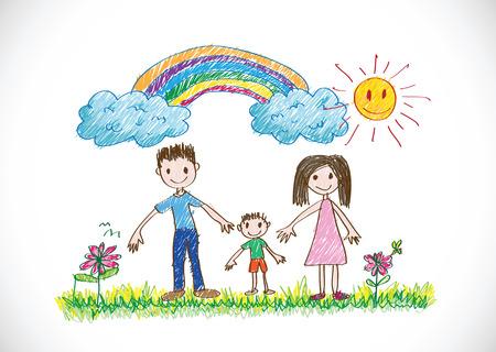 Illustration pour kids drawing happy family picture - image libre de droit