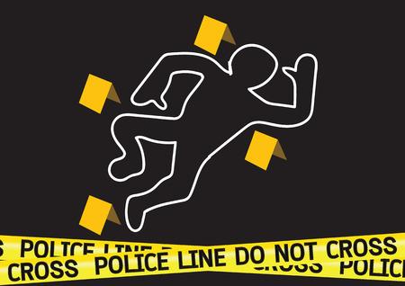 Illustration pour Crime scene danger tapes illustration - image libre de droit