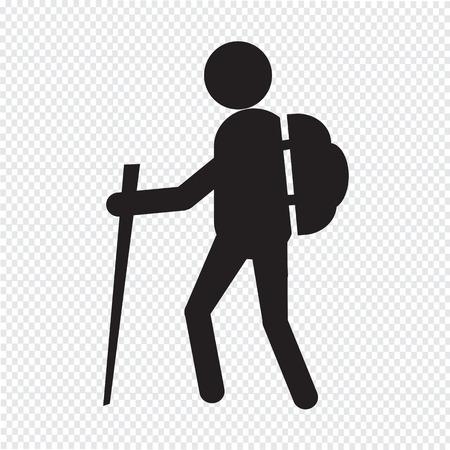 Illustration pour hiking icon - image libre de droit