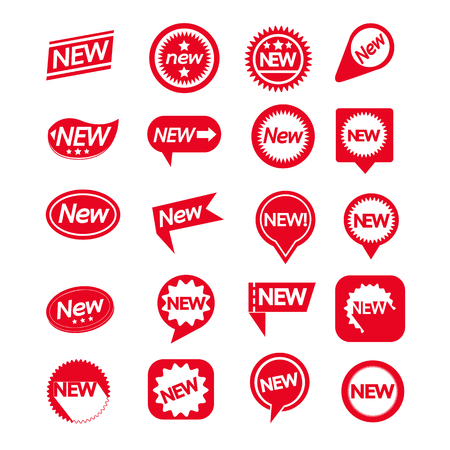 Illustration for Set of labels New Icon for website and communication - Royalty Free Image