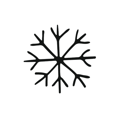 Illustration pour Painted cute snowflake silhouette. Symbol of winter and cold. Snow on a transparent background. Childrens hand drawing style, handmade - image libre de droit