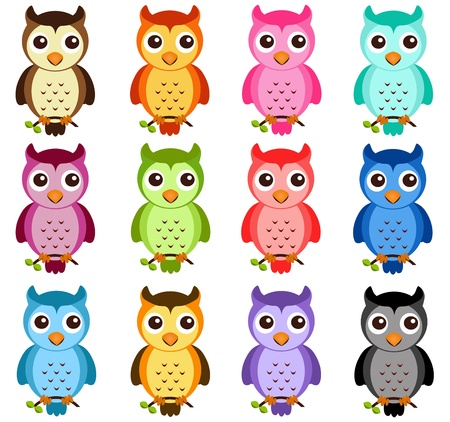A colorful Theme of cute vector Icons: Night Owls on white