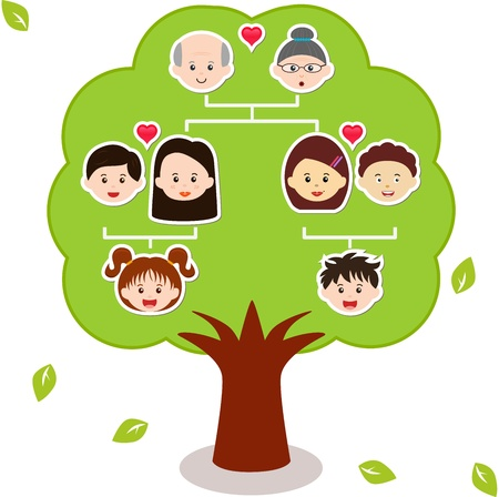 Illustration for Icons  Family Tree, A diagram on a genealogical tree, isolated on white background  - Royalty Free Image