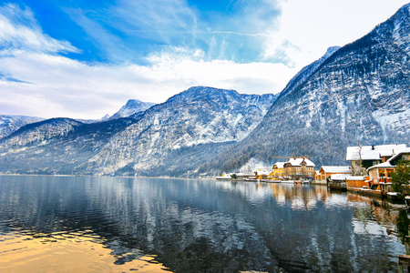 Photo for View of Hallstaetter see, Hallstatt Lake from the north, in Upper Austria during winter - Royalty Free Image