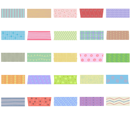 Illustration pour Vector illustration set of cute colorful hand drawn masking tape (Washi tape) fabric strip, blank tags labels stickers with patterns in pastel color as design elements for decoration isolated on white - image libre de droit