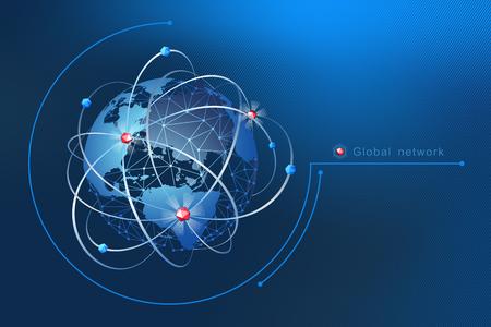 Ilustración de Modern design of network connections, the planet and satellites in orbit. Background vector illustration - Imagen libre de derechos
