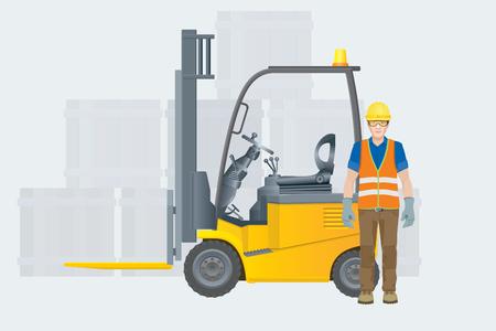 Illustrazione per Forklift electric. Modern warehouse. Vector illustration - Immagini Royalty Free