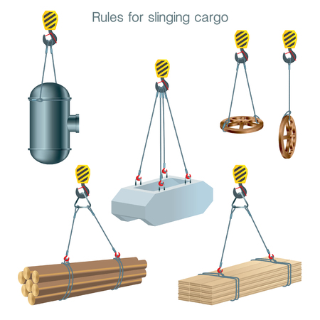 Ilustración de Rules for slinging cargo. Safety at the construction site. Lifting of building units. Set of vector illustrations on white background - Imagen libre de derechos