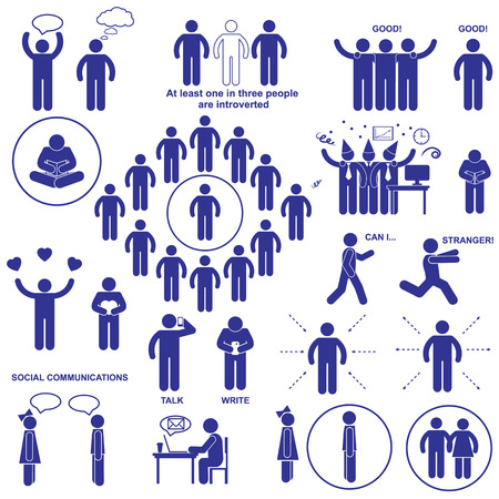 Illustrazione per Introverts and extroverts vector stick human figures pictograms. - Immagini Royalty Free