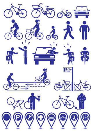 Illustrazione per Vector set pictograms bicycle infrastructure icons. Vector bike accessories set - Immagini Royalty Free