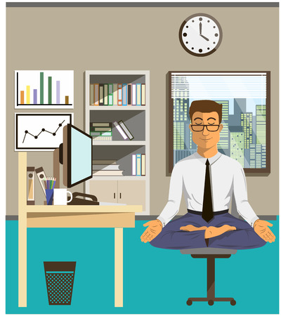 Illustrazione per Illustration of the concept of relax and work balance. Office man doing Yoga to calm down the stressful emotion from multi-tasking and very busy working. - Immagini Royalty Free