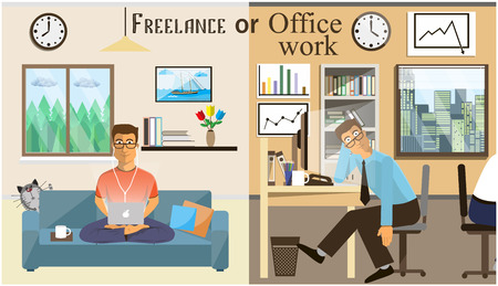 Illustration pour The concept of office work and the freelancing. Scenes of people working in the office. Interior office and living room. Home office vector illustration in a flat style. Workspace for Freelancer. - image libre de droit