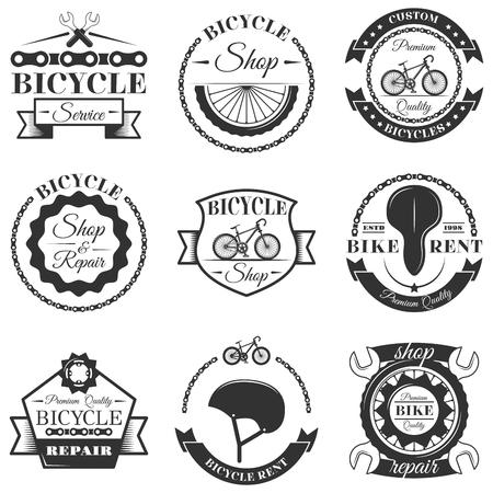 Illustration pour Vector set of bicycle repair shop labels and design elements in vintage black and white style. Bike logo - image libre de droit