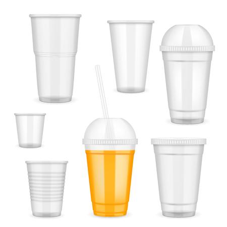 Ilustración de Realistic transparent disposable plastic cup set. - Imagen libre de derechos