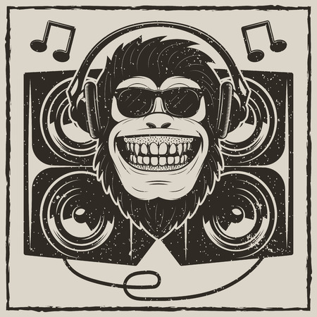 Illustration for Cool music monkey vector grunge t-shirt printing design - Royalty Free Image