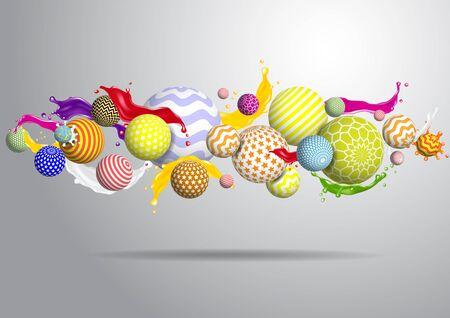 Illustration pour Vector abstract multicolor balls background. 3d illustration - image libre de droit