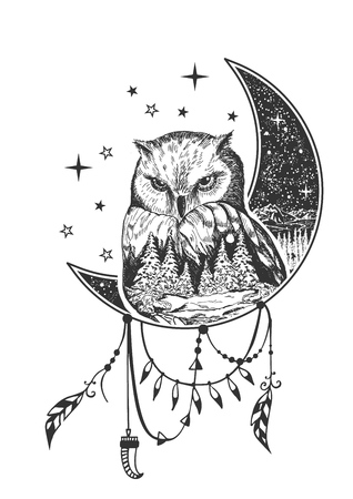 Illustration pour Vector boho owl tattoo or t-shirt print design. Owl on crescent moon combined with nature and boho elements. - image libre de droit