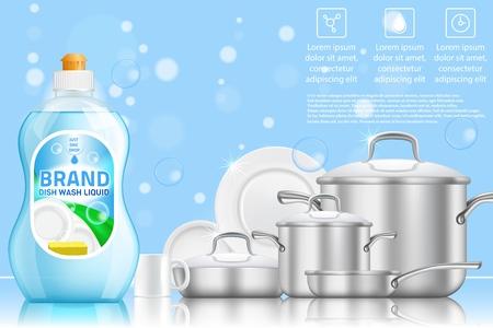Ilustración de Dishwashing advertising vector realistic template - Imagen libre de derechos