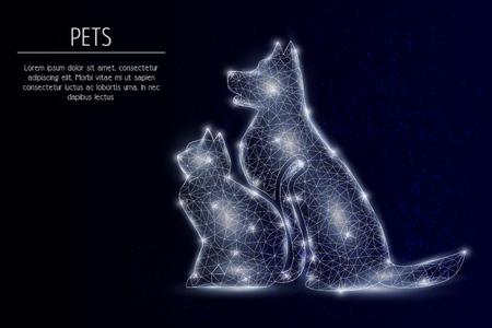 Illustration pour Cat and dog vector geometric polygonal background - image libre de droit