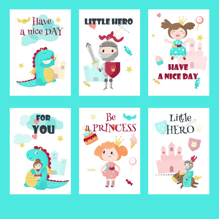 Illustration for Vector set of cards, gift tags with fairytale medieval knight little hero, beautiful princess, cute mythical dragon and inspirational quotations. - Royalty Free Image