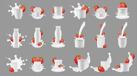 Ilustración de Strawberry yogurt package with splash mockup set. Vector realistic white blank plastic bottle cup container for dessert, yoghurt, fresh strawberry and milk splashing and pouring. - Imagen libre de derechos