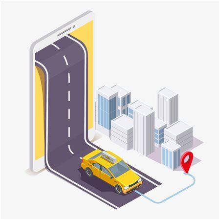 Ilustración de Taxi service mobile application, vector flat isometric illustration - Imagen libre de derechos