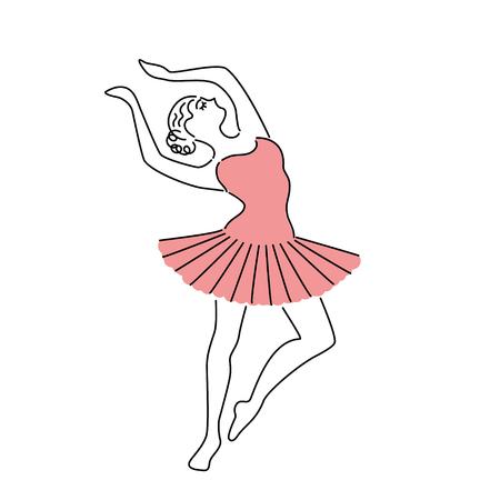 Illustrazione per Happy ballerina in pink dress vector illustration. Line drawing. - Immagini Royalty Free
