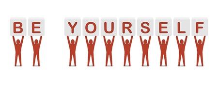 Foto de Men holding the phrase BE YOURSELF. Concept 3D illustration. - Imagen libre de derechos