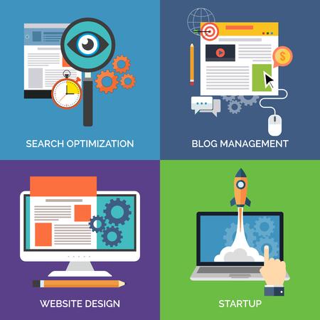 Ilustración de Set of flat design concept icons for business. Search optimization, Blog management, Website design and Startup. Vector Illustration. - Imagen libre de derechos