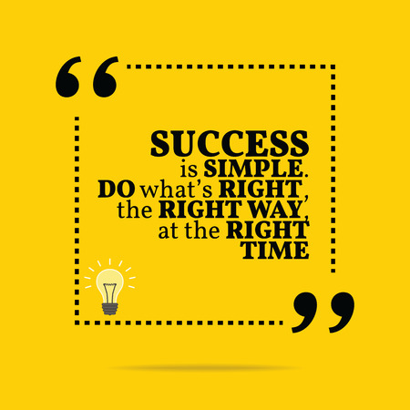 Photo for Inspirational motivational quote. Success is simple. Do what's right, the right way, at the right time. Simple trendy design. - Royalty Free Image