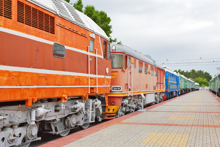 Photo for Novosibirsk Museum of railway equipment in Novosibirsk, Siberia, Russia - July 7, 2017: the Old trains worked during the Soviet era - Royalty Free Image