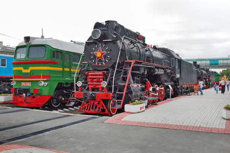 Photo for Novosibirsk Museum of railway equipment in Novosibirsk, Siberia, Russia - July 7, 2017: the Old railway technician who worked during the Soviet era - Royalty Free Image