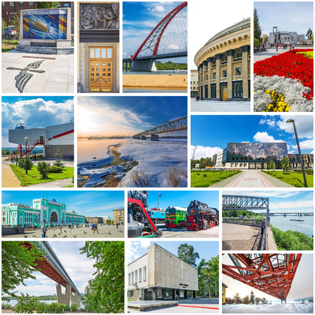 Foto de Novosibirsk, Western Siberia, Russia-2018, 2019: collage on the sights of Novosibirsk - Imagen libre de derechos