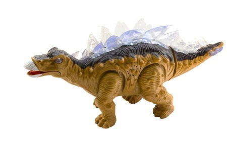 Photo pour pictured in the photo A stegosaurus toy isolated on a white background. - image libre de droit