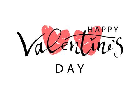 Ilustración de Abstract Calligraphy Hand Drawn Happy Valentine s Day Background. Trendy vector illustration of Saint Valentine s day - Imagen libre de derechos